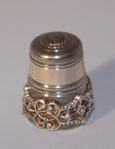 Antique Solid Silver Sewing Thimble with Beautiful Scroll Applied Decoration…