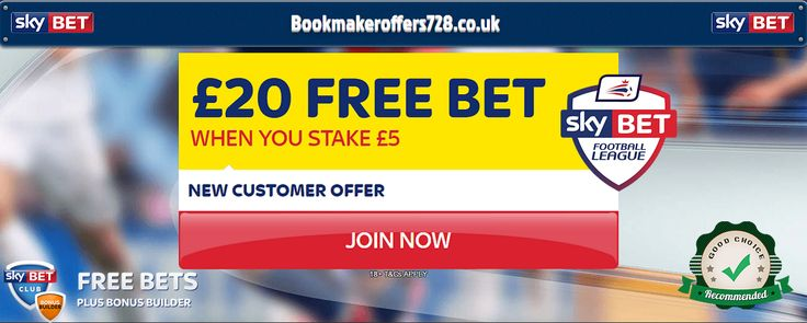 Sky Bet Offers Bet £5 Get £20 in free bets. new customers only. get review and this offer here @ https://www.bookmakeroffers728.co.uk/sky-bet-review