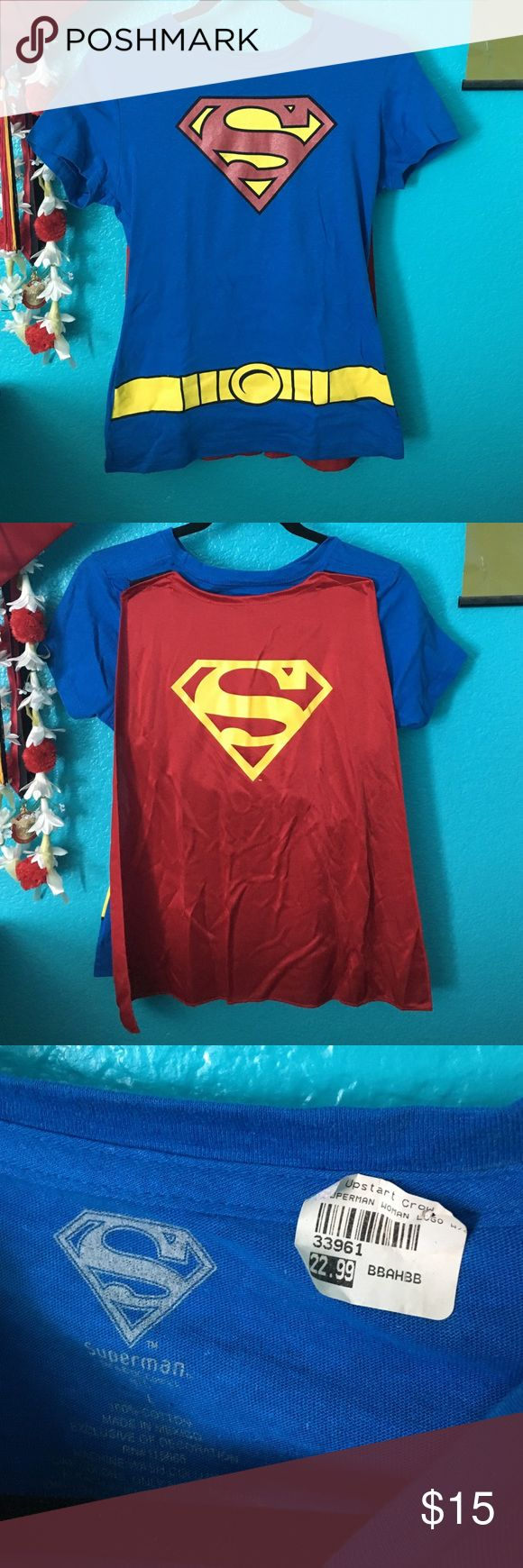 Superman shirt w/ cape Superman graphic shirt with cape attached. Never worn. Tops