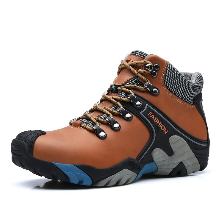 Natural Leather Boots Men Warm Plush Winter Men Boots Anti-skidding Winter Shoes Men High Quality Brown Blue Orange