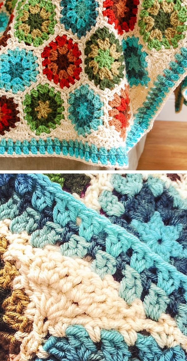 Granny Hexagon Edging, free pattern with step-by-step tutorial by Kara of Petals…