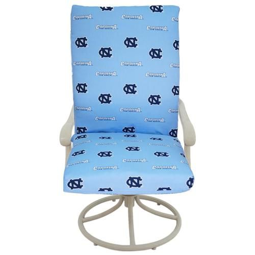 North Carolina Tarheels Chair Cushion Set. This pillow set is made from 100% high-spun polyester and has 500 hours of UV protection for use with your outdoor furniture. The seat and back cushions are