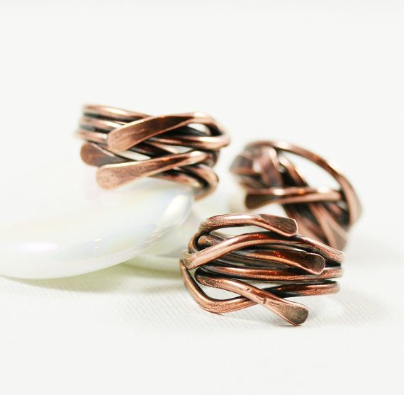 Copper Ring Organic Stack Ring Soldered