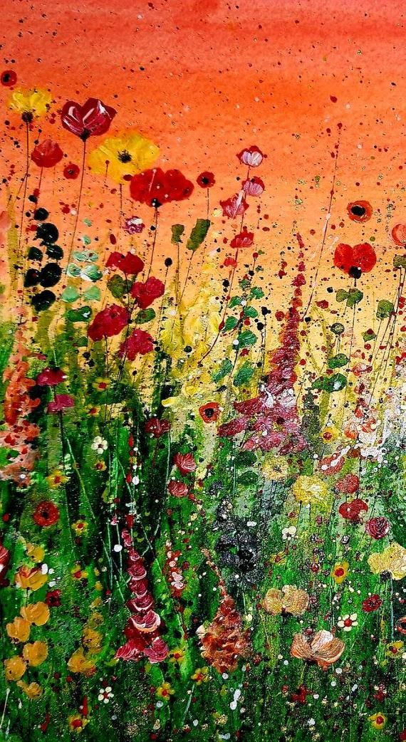 Original Flower Painting Mixed Media Wild Flowers Abstract