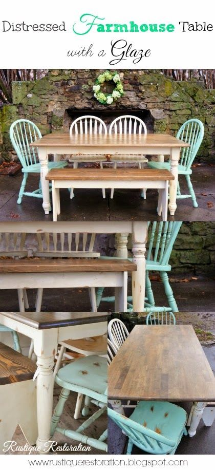 Rustic Farmhouse Table Set!  Cream and Mint and a warm Brown!
