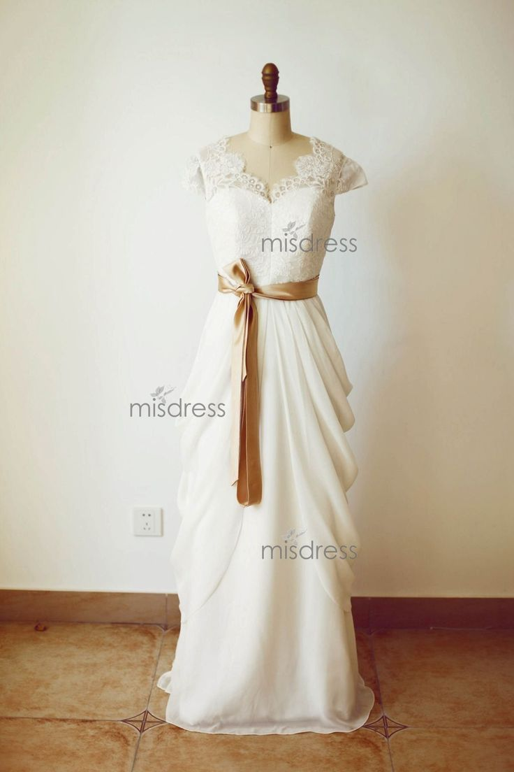 Ivory Lace Chiffon Cap Sleeves V Back Wedding Dress with champagne sash  https://www.misdress.com/collections/bridal-dresses/products/ivory-lace-chiffon-cap-sleeves-v-back-wedding-dress-with-champagne-sash?utm_content=buffer31242&utm_medium=social&utm_source=pinterest.com&utm_campaign=buffer  #ivoryweddingdress #laceweddingdress #chiffonweddingdress #Vbackweddingdress #champagnesashweddingdress #longweddingdress #wedding #weddingdress #weddinginspirations #weddingoptions #romanticwedding…