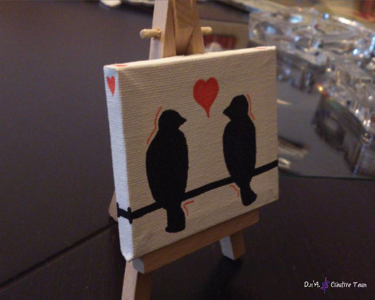 -LOVE BIRDS  -Water markers on canvas with easel -Measures: 7x8 cm  https://www.etsy.com/listing/213171636/birds-in-love-small-canvas?ref=shop_home_active_19