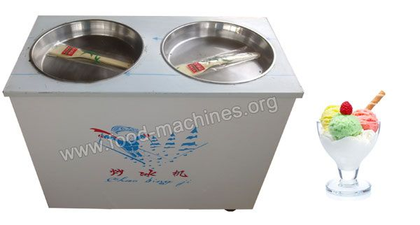 double pans fried ice machine is used for making fried ice, fried ice fruit, fried ice cream, fried ice porridge, etc. Ideal machine for small business. This emerging business is of low investment high returns.