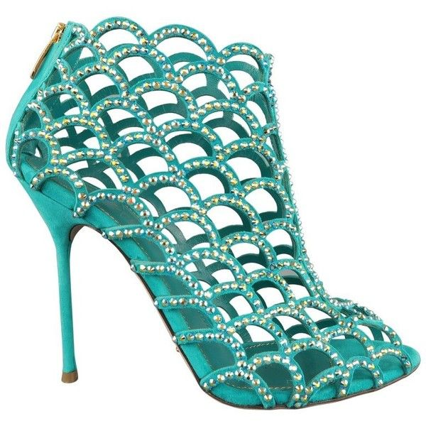 Preowned Sergio Rossi Size 8.5 Aqua Rhinestone Suede Peep Toe Cage... ($791) ❤ liked on Polyvore featuring shoes, sandals, blue, high heels, peep-toe shoes, cage sandals, cutout sandals, zip back sandals and sergio rossi sandals