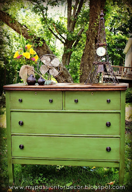 White And Neglected Craigslist Dresser Turned Green Beauty   Love the Green  http://mypassionfordecor.blogspot.com/2012/06/white-and-neglected-craigslist-dresser.html?showComment=1340322835743