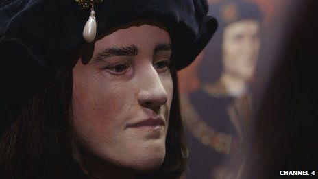 A facial reconstruction based on the skull of Richard III has revealed how the English king may have looked.  A skeleton found under a car park in Leicester has been confirmed as that of the king.  The reconstructed face has a slightly arched nose and prominent chin, similar to features shown in portraits of Richard III painted after his death.