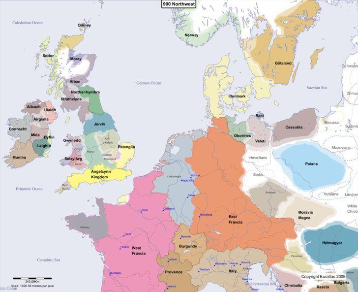 Map showing Europe 900 Northwest