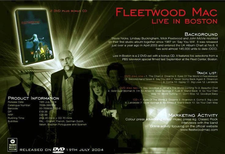 Uk Advert For Fleetwood Mac S Quot Live In Boston Quot Cd Dvd