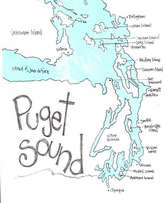 PUGET SOUND Map, Northwest Gift, Washington Gift, Washington State, Pacific  NW, Wall Art, Limited Edition Print by Seattle Artist Mary Klump