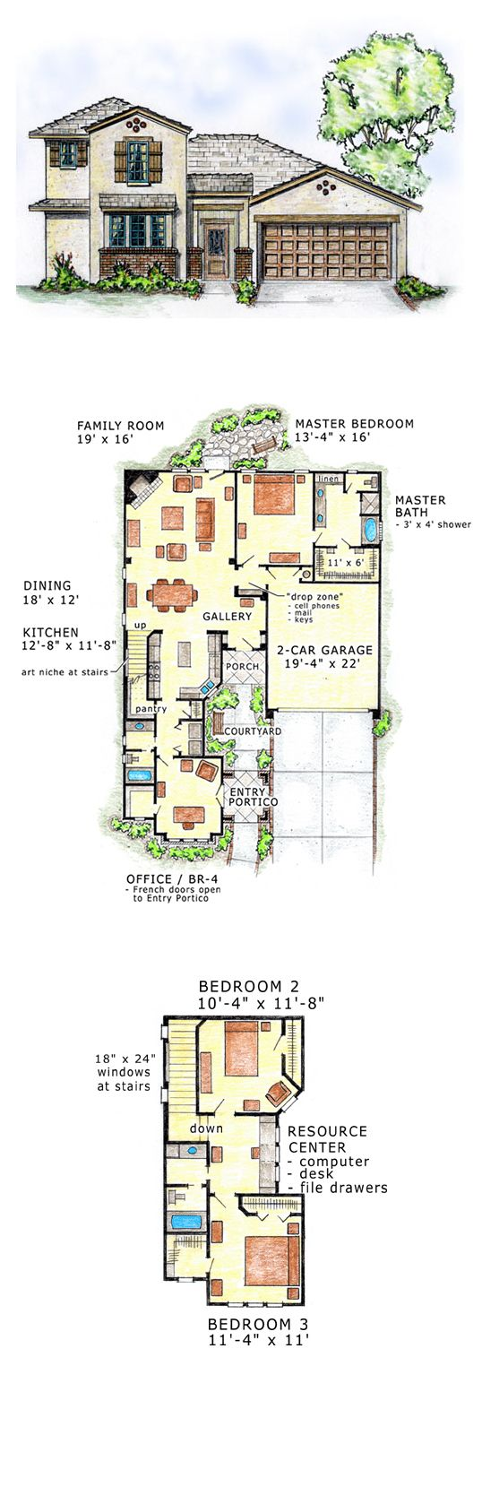 Southwest house plan 56527 total living area 2185 sq for Southwest house floor plans