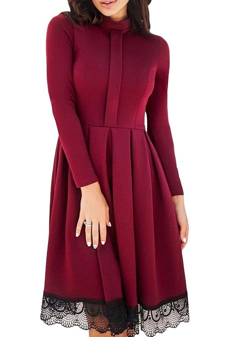 Lace Hemline Detail Burgundy Long Sleeve Skater Dress modeshe.com