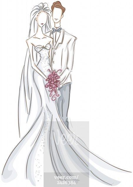 Bride and Groom Sketch Stock Illustration