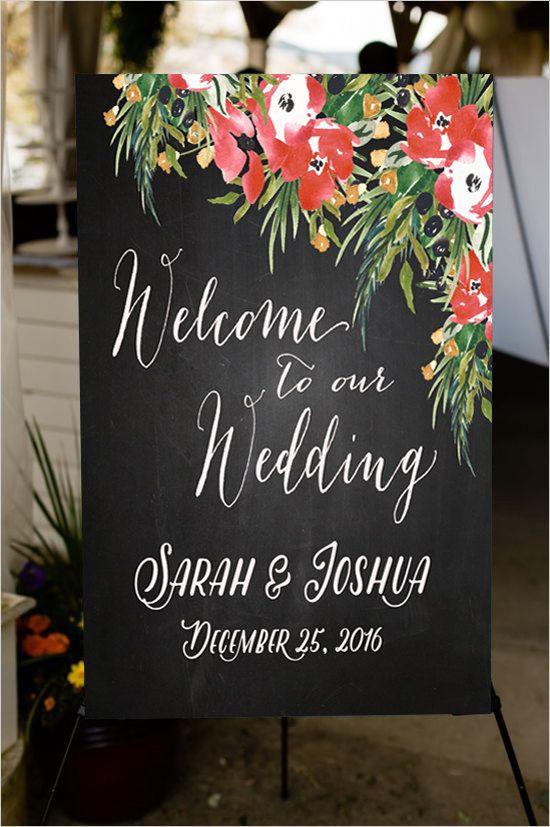 Christmas wedding welcome sign - 35 Christmas Wedding Etsy Finds | Editor's Etsy Picks - KnotsVilla