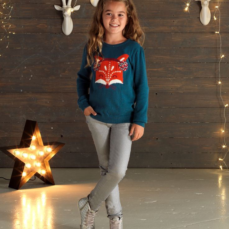 Cherokee Girls Fox Jumper and Silver Jeans