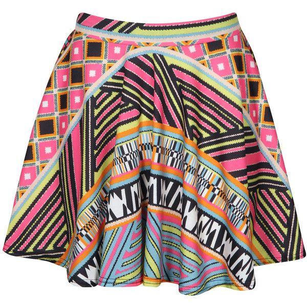 Boohoo Billie Aztec Skater Skirt ($16) ❤ liked on Polyvore featuring skirts, aztec skater skirt, aztec print skirt, aztec skirt, skater skirt and flared skirt