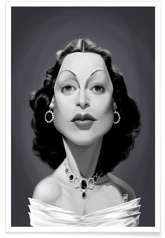 Hedy Lamarr as Premium Poster by Rob Snow | Creative | JUNIQE art | decor | wall art | inspiration | caricature | home decor | idea | humor | gifts
