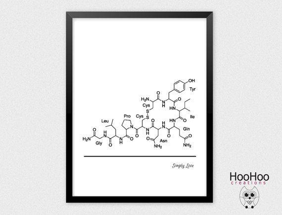 Oxytocin poster Love hormone print by HooHooCreations on Etsy