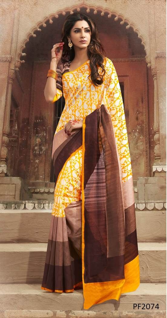 #DailyWearSarees Don't follow the crowd. Be the one to make others follow your style. Find amazing collection of Daily Wear Sarees on Ethnic Station. http://www.ethnicstation.com/sarees/bhagalpuri/yellow-printed-saree-PF2074
