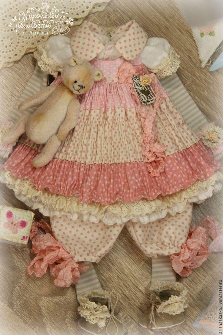 Купить Комплект для куклы шебби-шик . Одежда для куклы . - платье для куклы, обувь для куклы