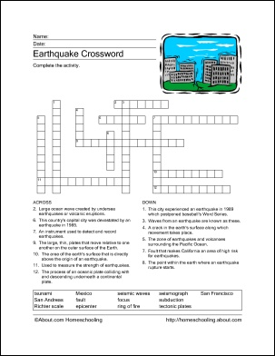 Earthquake Crossword Puzzle is a great activity for students who have finished their work. It keeps them busy and less of a distraction to those who have not finished. It could also be used as a great review for students. M.R.