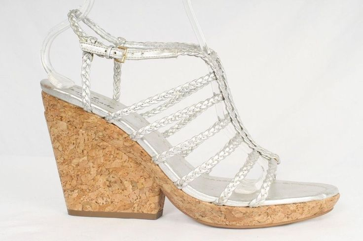 Kate Spade Size 10M Silver Woven Strappy Cork Wedge Heel Sandals 982 S217  | eBay