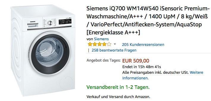 Siemens Iq700 Wm14w540 Isensoric Premium Waschmaschine A 8 Kg