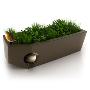 'Design Objects for Pets' is a line of stylish, green-roofed abodes for small dogs, cats, birds, rabbits and chickens.