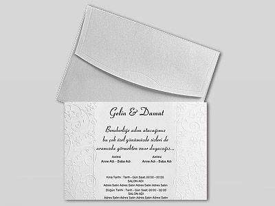 Desenli beyaz davetiye