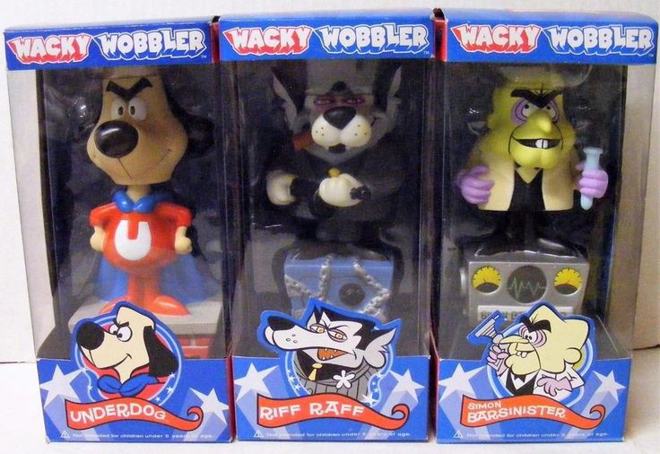 FUNKO SET OF 3 UNDERDOG RIFF RAFF SIMON BARSINISTER WACKY WOBBLER BOBBLE HEAD  | eBay