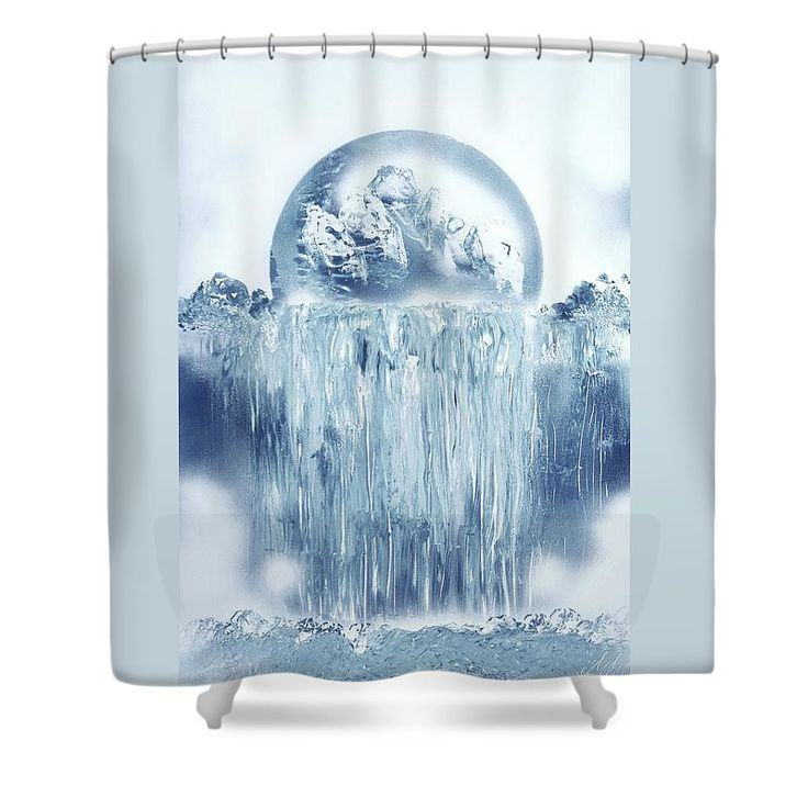 Ice Waterfall Shower Curtain Printed with Fine Art spray painting image Ice Waterfall Nandor Molnar (When you visit the Shop, change the background color and image size as you wish)