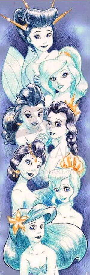 Little Mermaid's Ariel and sisters cartoon