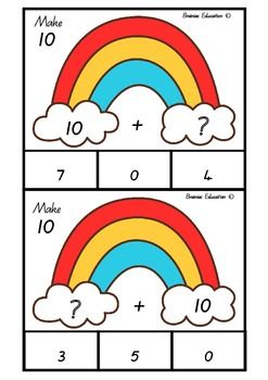 Students select one card at a time and read the incomplete number sum. Students attempt to identify the number that is missing in the rainbow fact sum. The rainbow fact sum must total ten. Students show their choice by clipping a peg onto the correct answer.