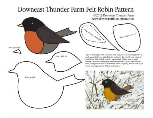 robin-pattern-pic- lots of great patterns for making felt birds....because felt birds sound awesome. I need a reason to make this happen.