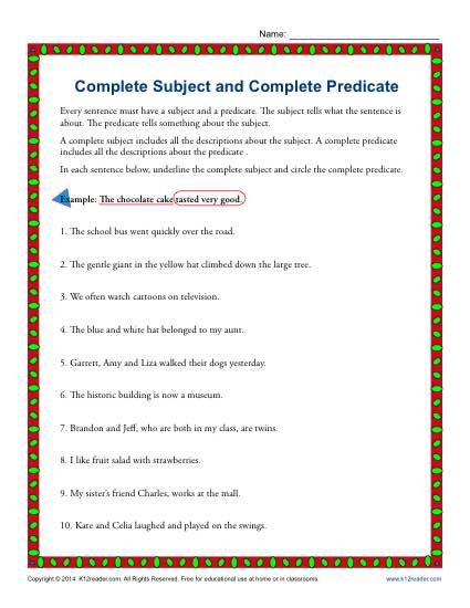 Complete Subject and Complete Predicate Worksheet Practice Activity