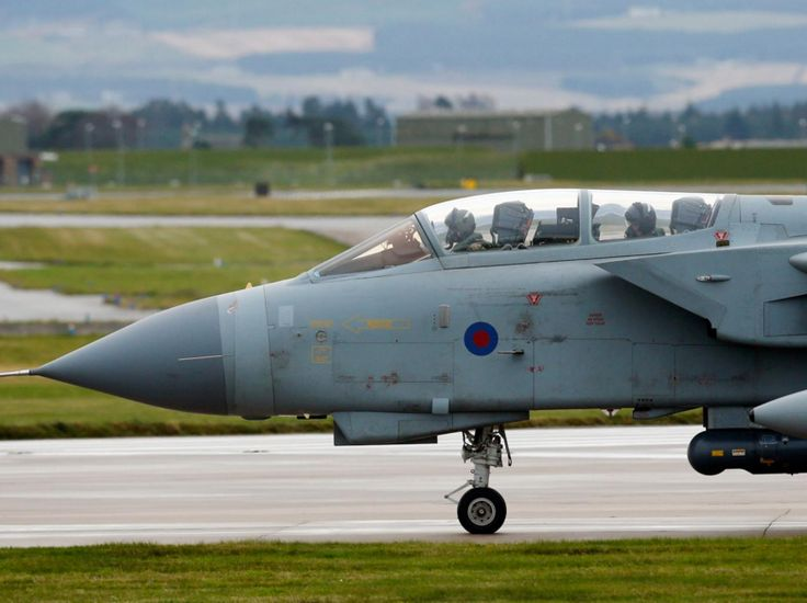 A Tornado jet ahead of taking off from RAF Lossiemouth in Scotland, as RAF Tornado jets carried out the first British bombing runs over Syria, the Ministry of Defence has confirmed. The air strikes were carried out within hours of a vote by MPs in the Commons to back extending operations against Isis from neighbouring Iraq - The Independent 04/16/2016