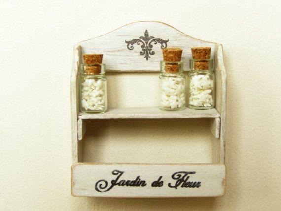 Dollhouse miniature shelf, shabby rack + 3 candy glass jars - 12th scale dollhouse furniture