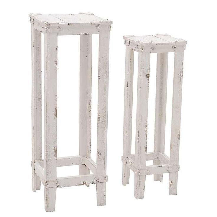 S/2 WOODEN FLOWER STAND IN WHITE COLOR 32X32X92 - Flower Stands - FURNITURE