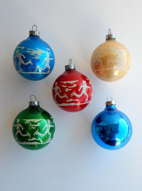 Items similar to Vintage Glass Ball Christmas Ornaments, Stenciled Ice Skaters Glitter Red Green White Blue, Mid Century Ornaments, Traditonal Christmas on Etsy