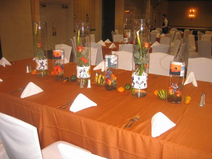 We combined Darren's passions for surfing and lacrosse for his centerpieces.