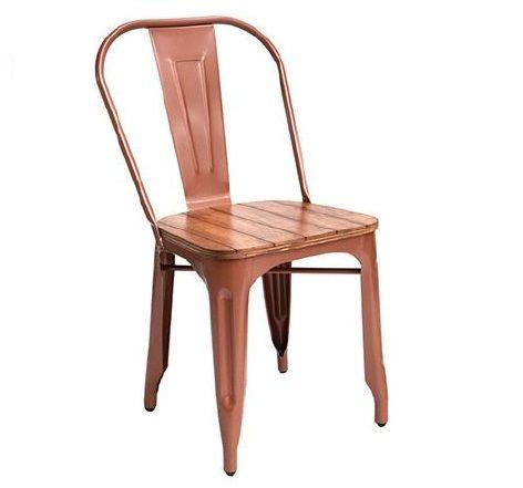 Silla Lyon Metalica asiento en Madera (Tolix) cobre - Intermueblespacios