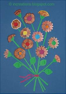 Collage Flores con puntas de lapiz