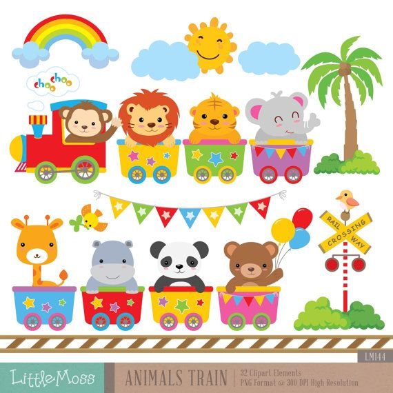 Wild Animals Train Digital Clipart por LittleMoss en Etsy