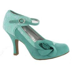 Ruby Shoo Anna Women's Smart Court Shoe in Turquoise with Floral Corsage just ordered these from the UK for wedding hope I don't fall!