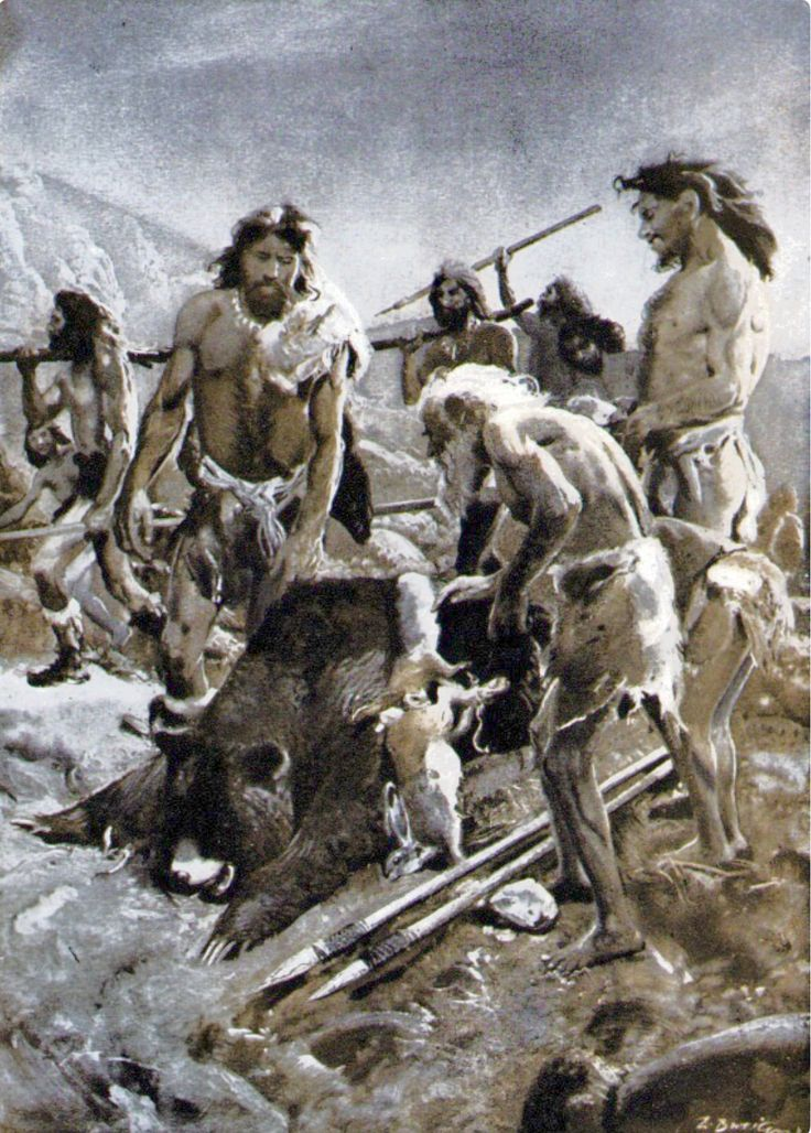 Ice Age hunters bringing home the bacon. They are