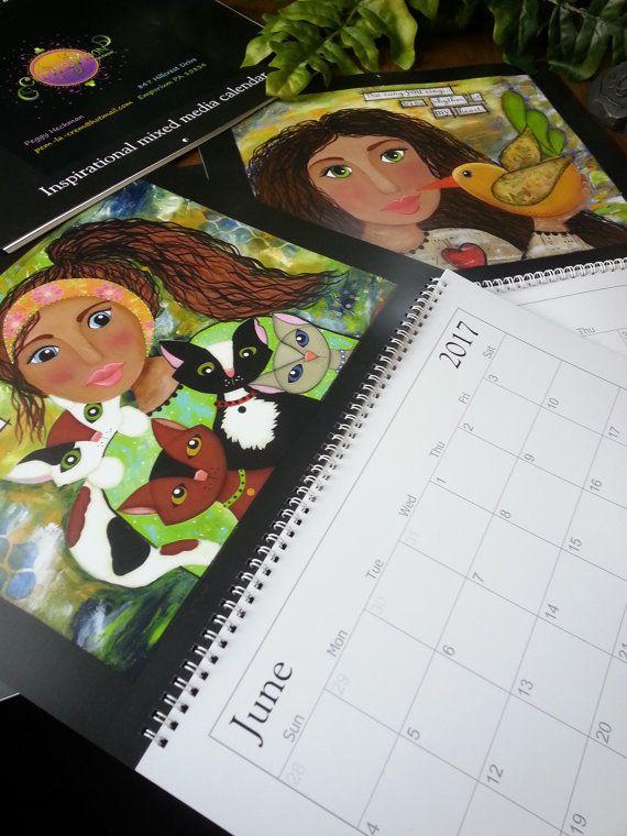 2017 art calendar, mixed media art calendar, inspirational art calendar, Mixed media 2017 art calendar, mixed media girls,whimsical calendar